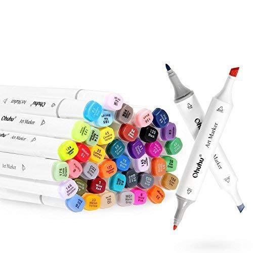 Graffiti Stift Permanent Marker, Ohuhu 40 Farbe Stiften Marker Pen verdoppelt spitzt Kunst Sketch Twin Marker Stifte Highlighters mit Tragetasche für Malerei Coloring Hervorhebungen Unterstreichunge