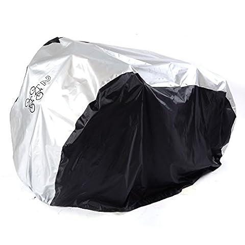 Housse Protection pour 2 Vélo Couverture de Bicyclette Bâche de Cyclisme Étanche à La Pluie Poussière Soleil Rayon UV 200x75x110 CM Noir Argent