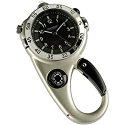 Multi function Adventure Watch Silver Finish Compass and Spring Clip