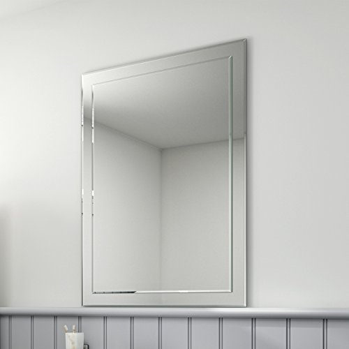 iBathUK 650 x 900 mm Rectangular Bevelled Designer Bathroom Wall Mirror MC147