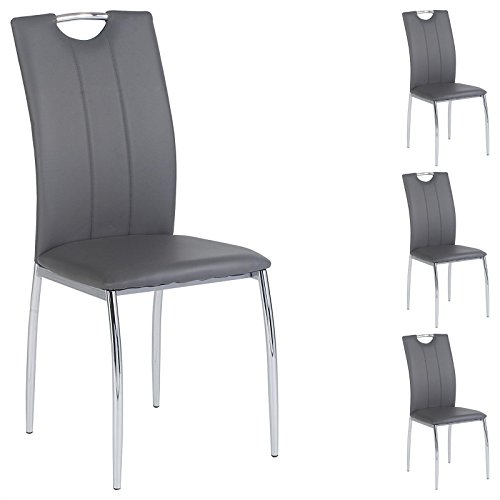 4er SET Esszimmerstuhl Essgruppe APOLLO, Set mit 4 Stühlen in chrom, Lederimitat in grau
