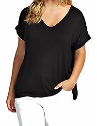 Funky Boutique Damen lange schulterfreies Einfach Batwing Top Größe 44-54: Farbe - Schwarz : Größe - 16-18 LXL
