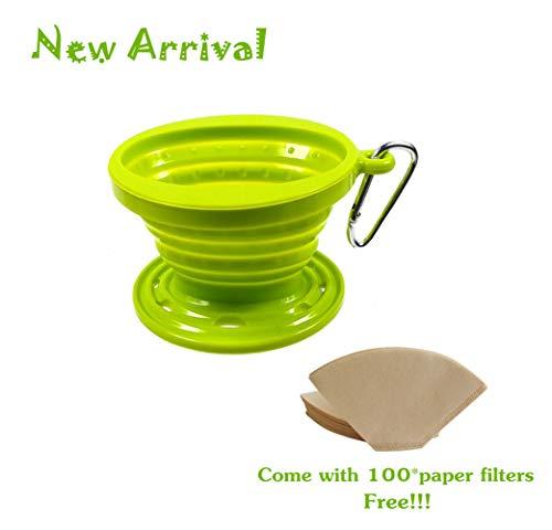 Kuke Faltbarer Silikon Kaffeefilter + Kaffeefilterpapier (eine Packung mit 100 Stück),Kaffee Dripper für Unterwegs Reisen Camping Wandern sowie im Büro und zu Hause (Grün)