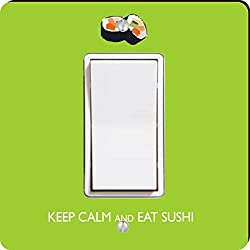 Rikki Knight Keep Calm and Eat Sushi Single Rocker Light Switch Plate, Lime Green