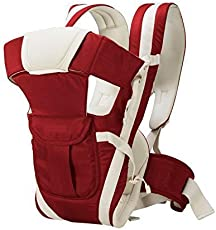 Aaradhya Enterprises Hands-Free 4-in-1 Baby Carrier Bag with Comfortable Head Support & Buckle Straps - Red