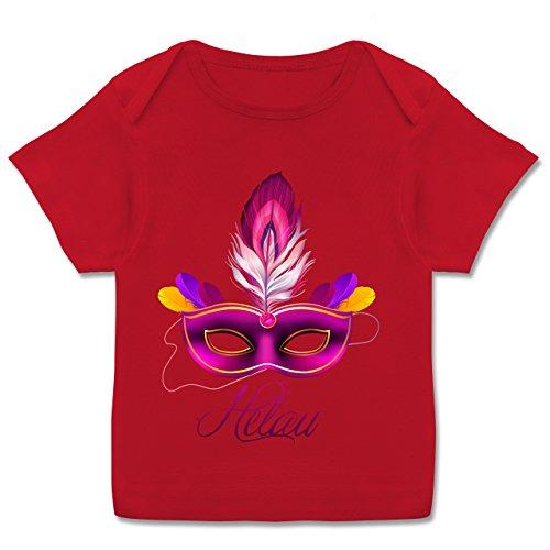 Anlässe Baby - Maske Helau - 80-86 (18 Monate) - Rot - E110B - Kurzarm Baby-Shirt für Jungen und Mädchen in verschiedenen (Spaßvogel Masken)
