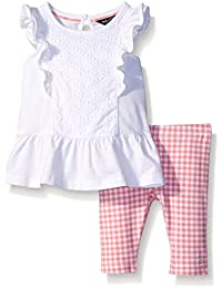 Nautica Baby Girls' Knit and Eyelet Mix Top with Gingham Legging Set