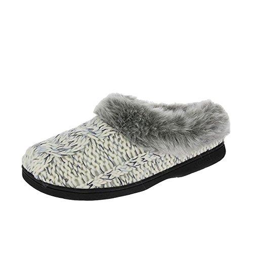 Dearfoams Damen Chunky Novelty Knit Clog with Memorry Foam Hausschuhe Muslin