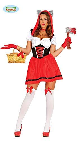 Sexy Rotkäppchen Kostüm, 2-teilig, Kleid mit Kapuze - Gr. ()