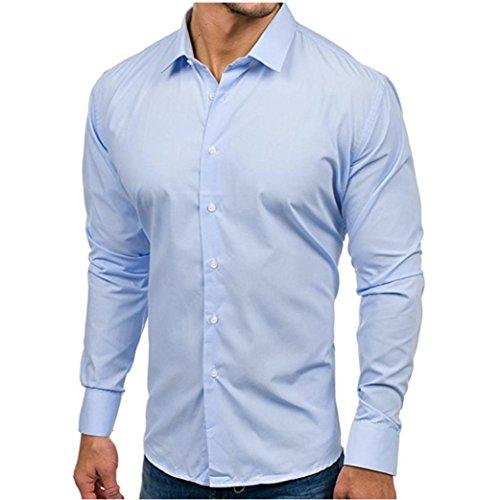 Cloom camicetta uomo manica lunga, camicie casual uomo maniche lunghe pulsanti camicie elegante slim fit manica lunga sartoriale classica camicetta casual (azzurro,m)