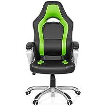 MyBuero Silla Gaming / silla de oficina GAMING ZONE PRO AB100 piel sintética negro / verde