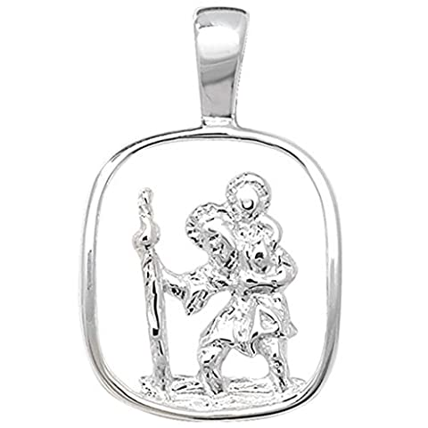 Kinder Sterling Silber Cut Out St Christopher Anhänger an einer Panzerkette Halskette