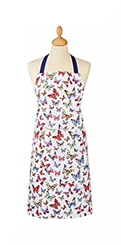 100% Cotton Apron with Large Front Pocket by Cooksmart & Inspirational Magnet (Butterfly)