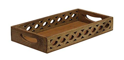 kaufen müssen–Serviertablett Holz Tablett mit Griffe mango-wood mit komplizierte filigranen...
