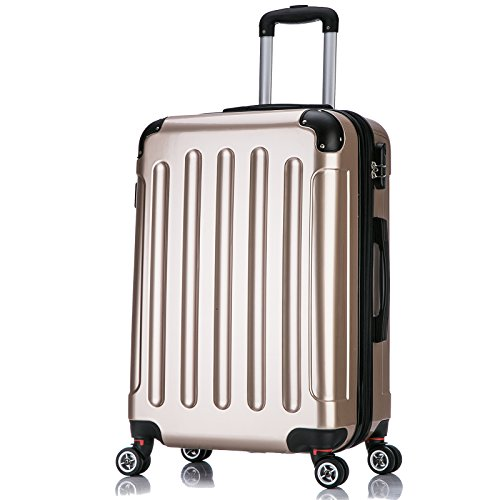 WOLTU RK4212gd-L Reise Koffer Trolley Hartschale mit erweiterbare Volumen , Reisekoffer Hartschalenkoffer 4 Rollen , M / L / XL / Set , leicht und günstig , Gold (L, 67 cm & 70 Liter)