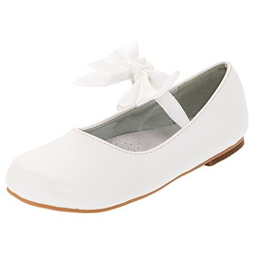Buddy Dog Festliche Mädchen Ballerinas Riemchen Schleife Mädchenschuhe in Vielen Farben M327ws Weiß 39