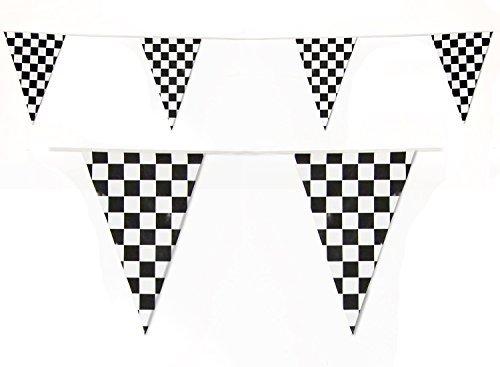 Schwarz und Weiß kariert Flagge Girlande Formel 1 Fahne 10 meter