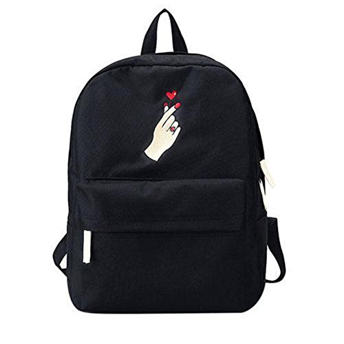 Ailin Online Casual Rucksack Mode Reisen Stickerei Rose Herz Leinwand Schulranzen Laptoprucksack für Mädchen Jungen Kinder Jugendliche Damen Herren Herz Schwarz
