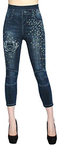 dy_mode Capri Leggings Damen Jeggings 7/8 in Jeans Optik mit Muster - CLG034-041 (CLG051-OneSize Gr.36-44)