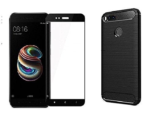 MOBIHUB Xiaomi Mi A1 Cover,Original Rugged Armor ShockProof TPU Back Cover Case for Xiaomi Mi 5x / Mi A1 Mobile Phone 2017 ,Metallic Black With Black Tempered Glass