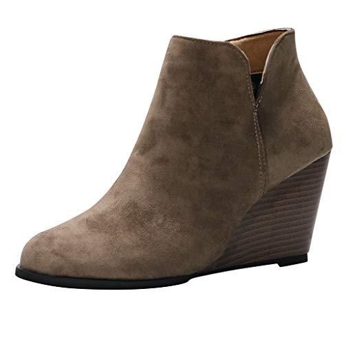 Smonke Damen Wildleder Keile Reißverschluss einfarbig Kurze Stiefeletten Runde Zehenschuhe Wasserdicht Kaltes Wetter Winter Outdoor Schuhe