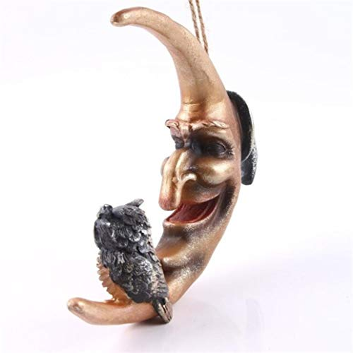 DOGOGO Kunstharz Terror Mond Eule hängende Statue für Heimdekoration, Halloween, Handwerk Kunst Schnitzen Figuren Skulptur Figuren, Keine Angabe, Einheitsgröße