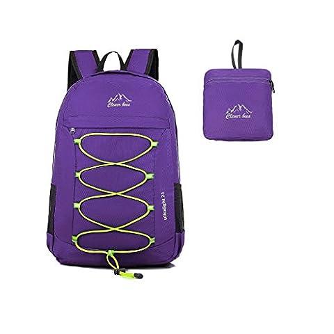 Kukome(TM) 25 L Faltbare Ultraleicht Wasserdicht Outdoor Sporttasche Reisen Klettern Wandern Radfahren Rucksack / Tagesrucksack für Männer / Frauen und Kinder (Lila)