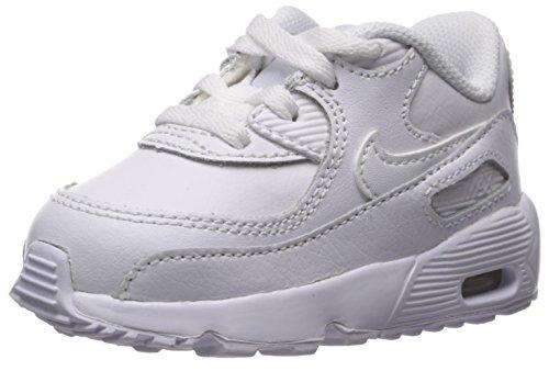 Nike Unisex-Kinder Air Max 90 Leather (TD) Traillaufschuhe Weiß White 100, 26 EU