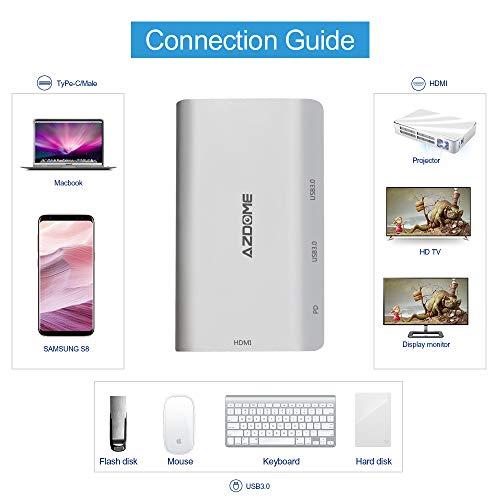 AZDOME Hub USB C 4 in 1 in Alluminio - 1 Porta 4K/ 30Hz HDMI Desktop per Huawei P20/ Mate 10/ Mate 10 PRO, 2 Porte USB 3.0 ad Alta velocità e 1 Porta Type c 60W - Ideale per MacBook