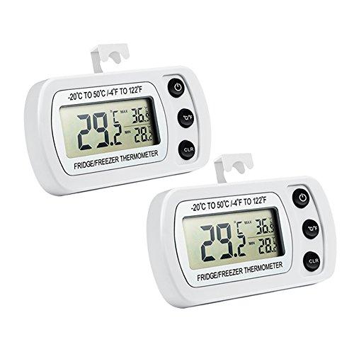 Oria Digital Kühlschrank Thermometer, 2 Pack Gefrierschrank Thermometer mit Haken Leicht zu LCD-Display Lesen, Max/Min Funktion Perfekt für Wohnhaus, Restaurants, Bars, Cafes, Eisschrank, etc. Test