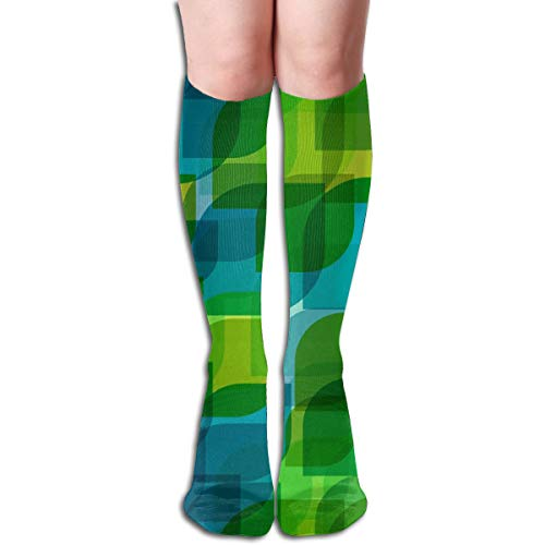 Women's Fancy Design Stocking Artistic Leaves Teals Green Overlay Multi Colorful Patterned Knee High Socks 19.6Inchs Teal Snowboard-boots