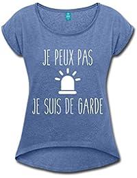 Je Peux Pas Je Suis De Garde T-shirt Femme à manches retroussées de Spreadshirt®