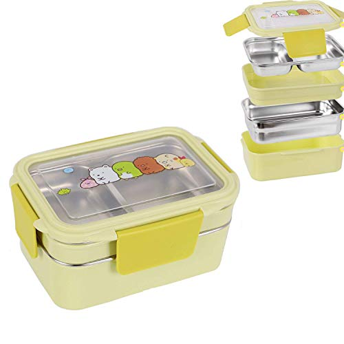 OldPAPA Kinder Lunchbox/Bento Box/brotdose Schule mit Zwei Ebenen Edelstahl Lebensmittelbehälter Aufbewahrungsboxen mit Löffel Für Kinder Kinder Erwachsene Büro Schule Camping