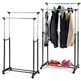 Inditradition Large Double-Pole Clothes Hanger, Garment Drying Rack | with Rolling Wheels, Adjustable Bars (Stainless Steel Poles) - Silver/Grey