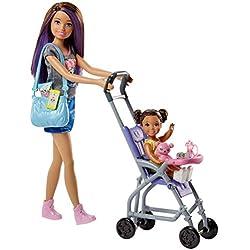 Barbie Muñeca Skipper hermana de Barbie, niñera de paseo (Mattel FJB00)