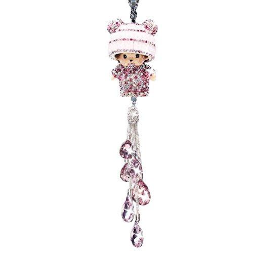 Preisvergleich Produktbild Dayiss® Ornament Auto KFZ Monchhichi Kiki Anhänger Spiegel aus Kristallglas Dekoration Auto mit Fransen Rosa (Rosa)