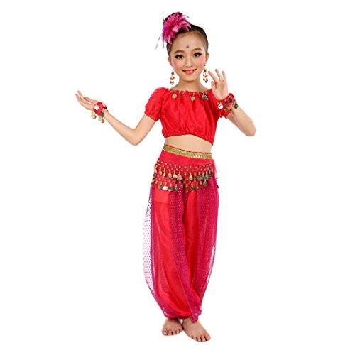 Shorts Kostüme Overall (Bekleidung Longra Kinder Mädchen Tanzkostüme Bauchtanz Karneval Kostüm Set Kinder Bauchtanz Ägypten Tanz Tuch Chiffon Tops +Hosen Tanzkleidung für Kinder Mädchen (130CM, Hot)