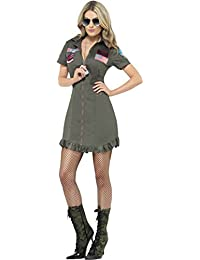 Women Adults Fancy Dress Halloween Party Top Gun Deluxe Ladies Costume Outfit