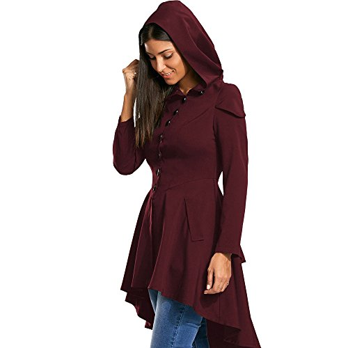 ZAFUL Womens Layered Lace Up High Low Hooded Long Sleeved Cardigan Long Elegant Vintage Jackets irregular Cocktail Formal Kimono Knitted Outwear Trench Coat(WINE RED 44)