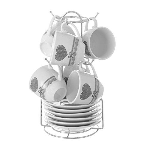 Juego de café para 6 servicios con plato y soporte en porcelana decorada (Modelo corazon gris)