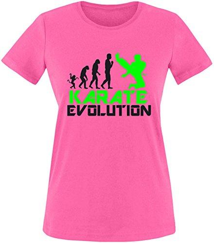 EZYshirt® Karate Evolution Damen Rundhals T-Shirt Fuchsia/Schwarz/Neongr