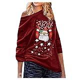 LOPILY Weihnachtspullover Damen Lustig Locker mit Weihnachtsmann Gedruckte Weihnachtsshirts Rundhalsausschnitt Langarmshirts mit Weihnachtsmotiven Norweger Pullover Damen Hoodie (Rot, M)