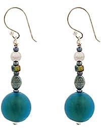 Amanti Venezia esmerilado verde pendientes de cuentas de cristal de Murano