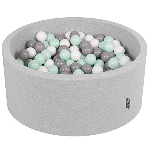 KiddyMoon 90X40cm/300 Balles ∅ 7Cm Piscine À Balles pour Bébé Rond Fabriqué en UE, Gris Clair: Blanc-Gris-Menthe