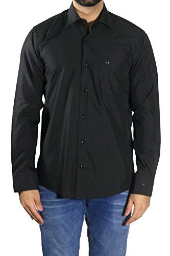 MUGA Homme Chemise à manches longues, légèrement cintrée Noir