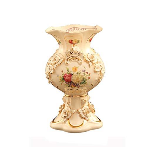 Vasen Container Keramik Schmuck Geschenk Europäischen Keramik Dekoration Ornamente Wohnzimmer Retro TV Schrank Großen Boden Hause Tisch Getrocknete Blumen (Color : Weiß, Size : 30.5 * 18 * 18cm) - Weißer Boden-vasen