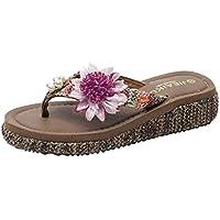 Chanclas para Mujer Cuñas Flip-Flop Sandalias Flores Zapatos de Playa Zapatillas Moda de Verano 4 cm