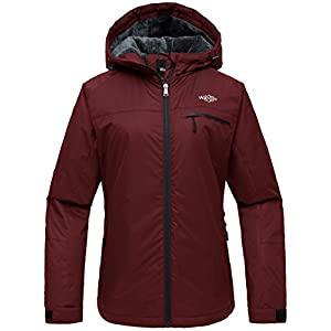 wantdo women's hooded mountain ski jacket outdoor fleece windproof rain jacket