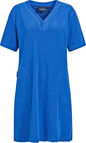 Morgenstern Strandkleid Damen Frotteekleid mit V-Ausschnitt Hauskleid XS dunkelblau Frauen Strand lang frottee Baumwolle bademode Kurzarm weich