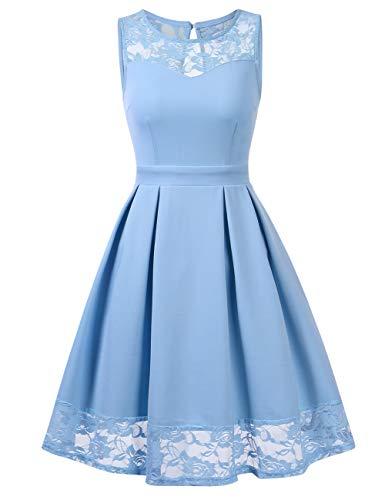 KOJOOIN Damen Abendkleider Spitzen Brautjungfernkleider für Hochzeit festliches Kurzes Cocktailkleid Ballkleid Ärmellos Himmelblau M -